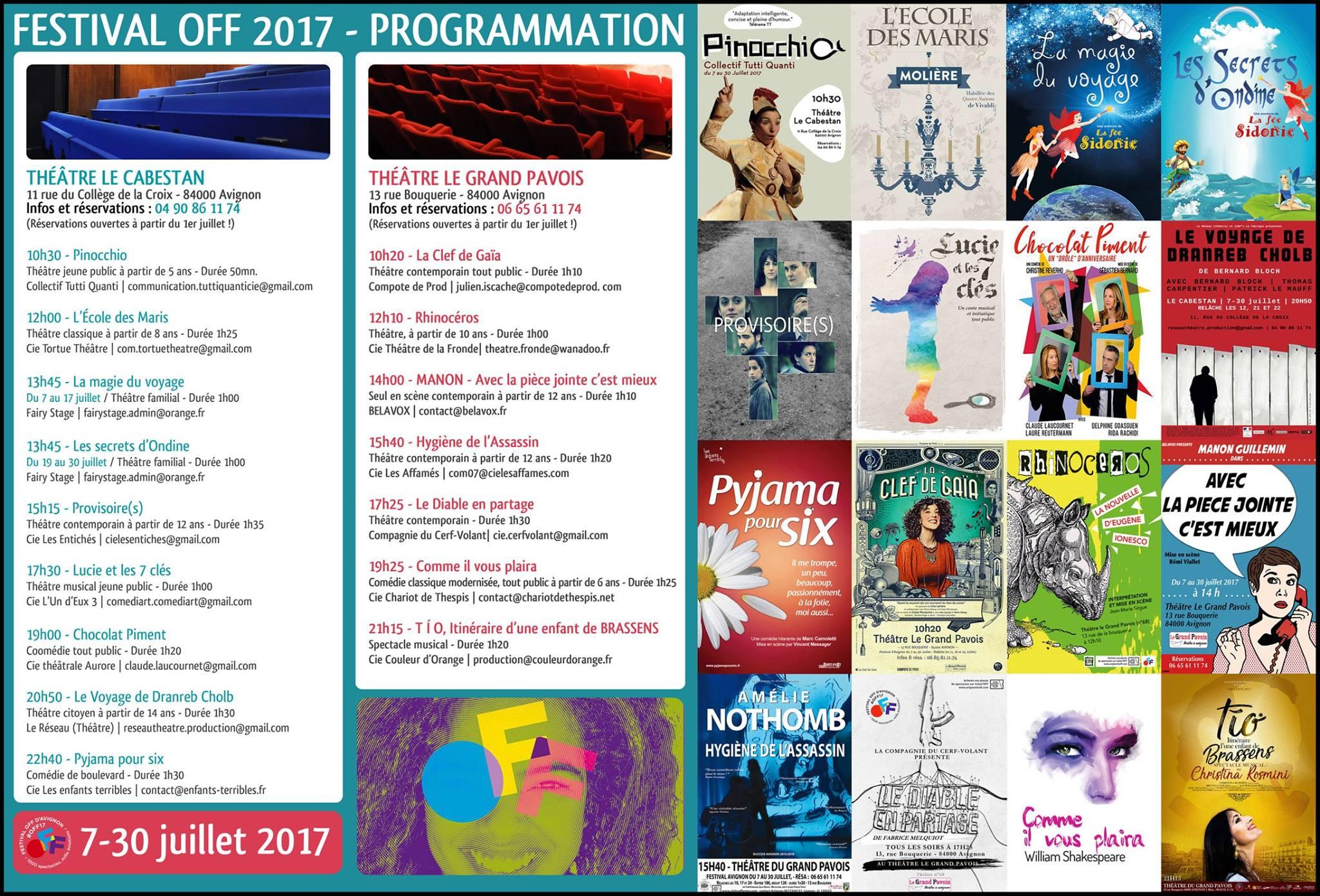 Le programme off 2017 du th tre le cabestan et le grand - Avignon off 2017 programme ...
